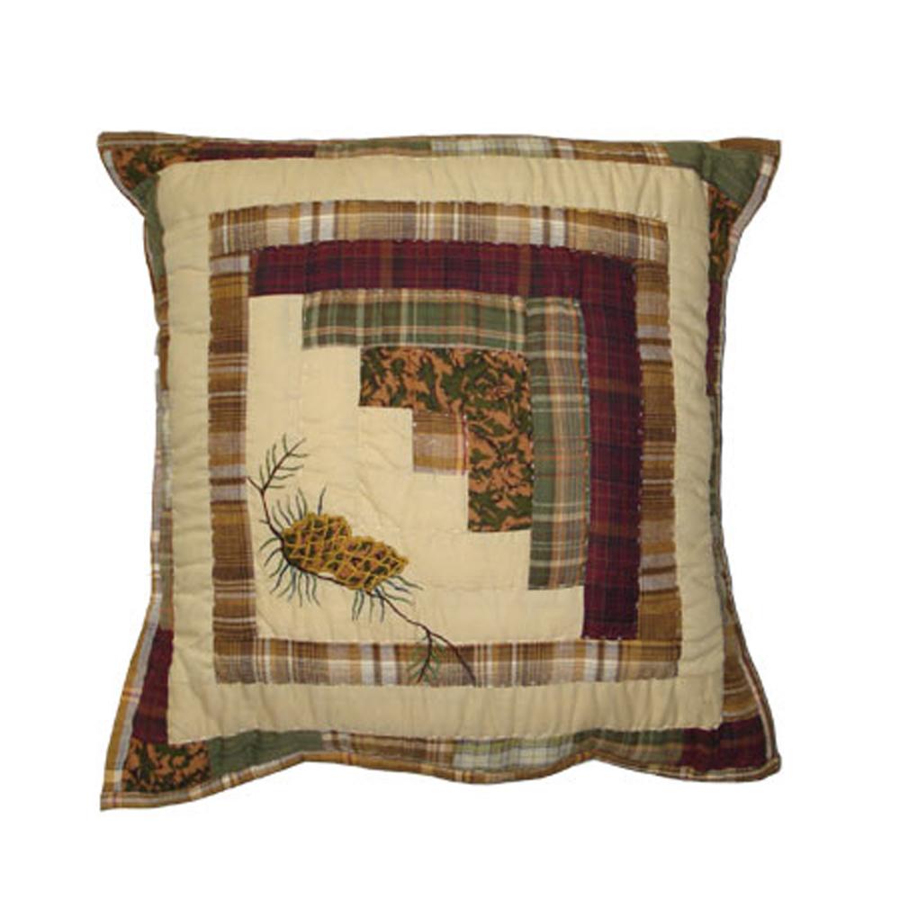 """Forest Log Cabin Toss Pillow 16""""W x 16""""L"""