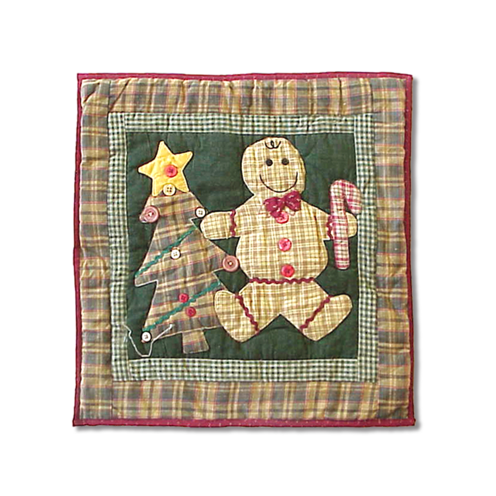 "Gingerbread Family Toss Pillow 16""W x 16""L"