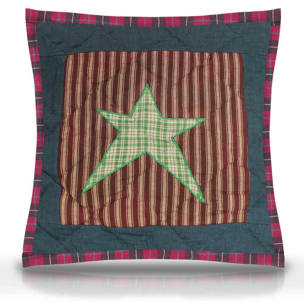 "Homespun Stars Toss Pillow 16""W x 16""L"
