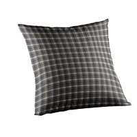 "Blue Black Grey Plaid Toss Pillow 16""W x 16""L"