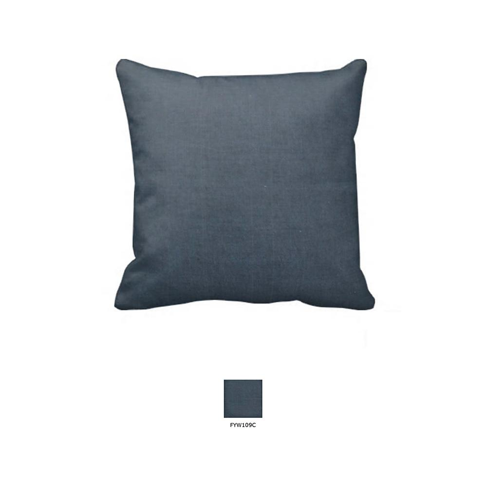 "Dark Spruce Blue Chambray Toss Pillow 16""W x 16""L"