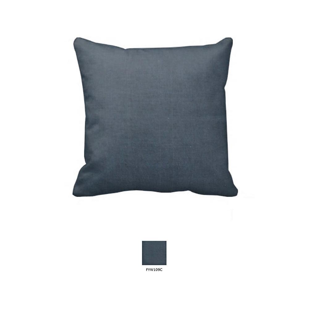 "Dark Spruce Blue Chambray Toss Pillow 16""W x 16""L"
