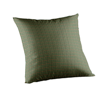 "Hunter Green and Tan Check Toss Pillow 16""W x 16""L"