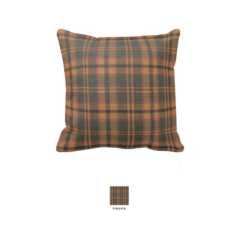 "Gold and Brown Plaid Toss Pillow 16""W x 16""L"