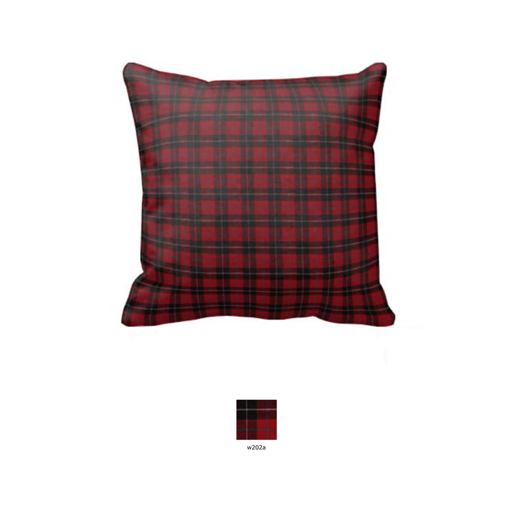 "Red and Black Plaid Toss Pillow 16""W x 16""L"