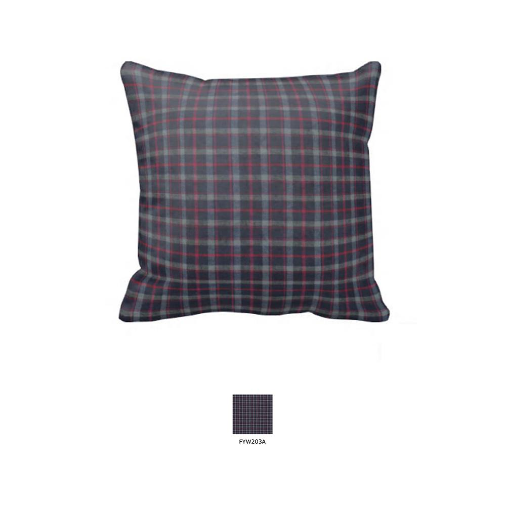 """Grey and Navy Blue Plaid Toss Pillow 16""""W x 16""""L"""