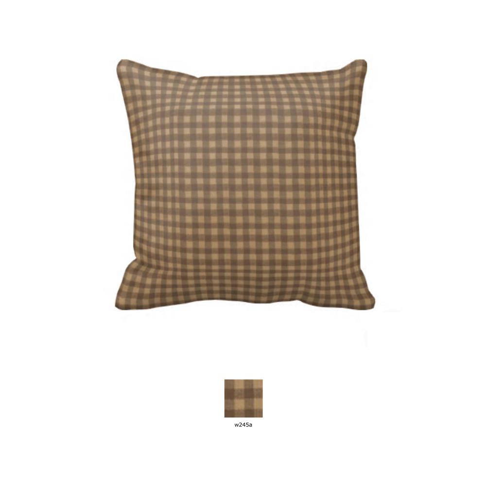 "Brown and Gold Gingham Toss Pillow 16""W x 16""L"