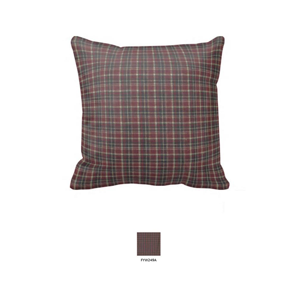 "Maroon and Black Plaid Toss Pillow 16""W x 16""L"