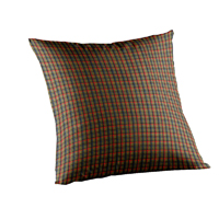"Tan and Blue Red Plaid Toss Pillow 16""W x 16""L"