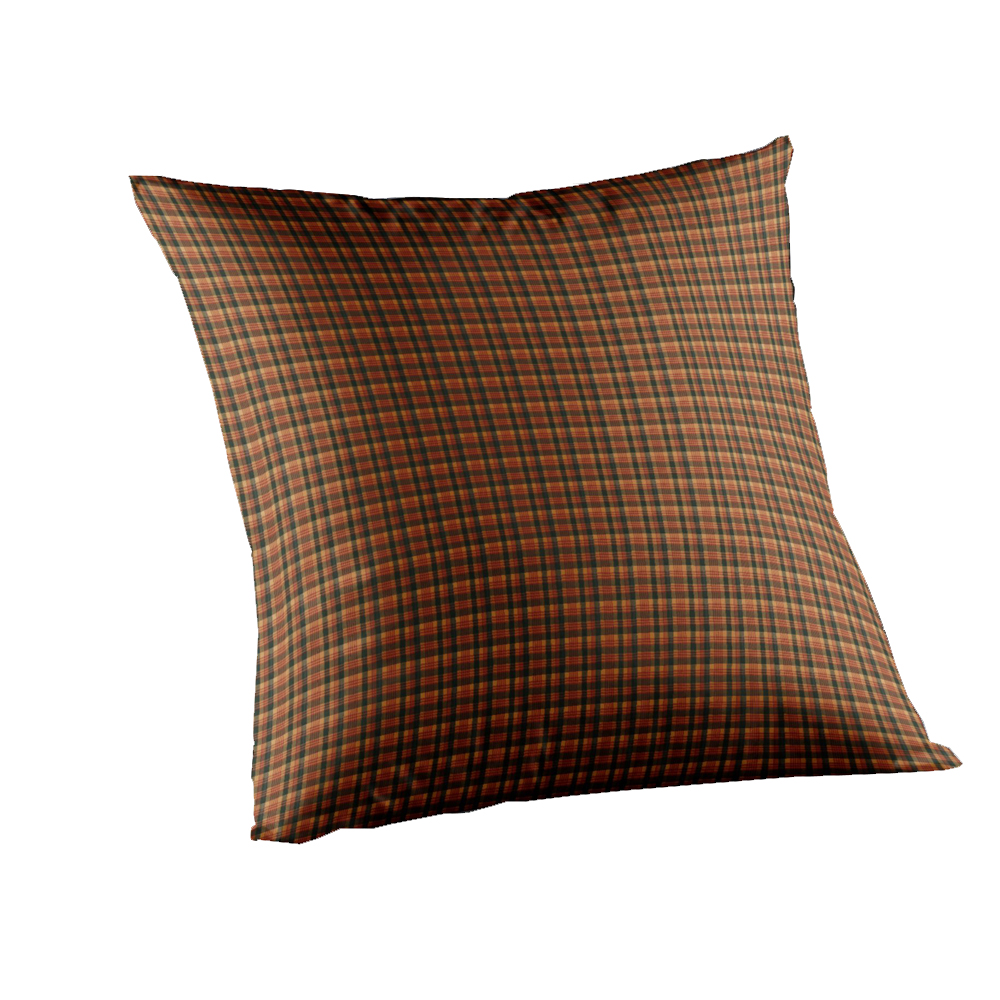 """Green and Warm Brown Plaid Toss Pillow 16""""W x 16""""L"""