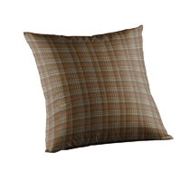 "Dark and Light Brown Plaid Toss Pillow 16""W x 16""L"