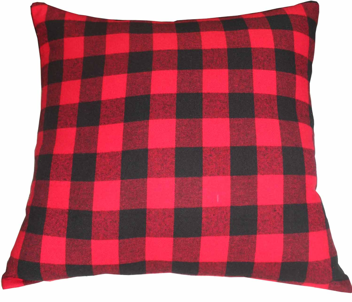 "Red and Black Twill Buffalo Check,Fabric Toss Pillow 16""W x 16""L,Standard"