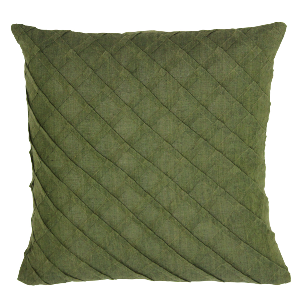 "Green Chambray Toss Pillow 16""W x 16""L"