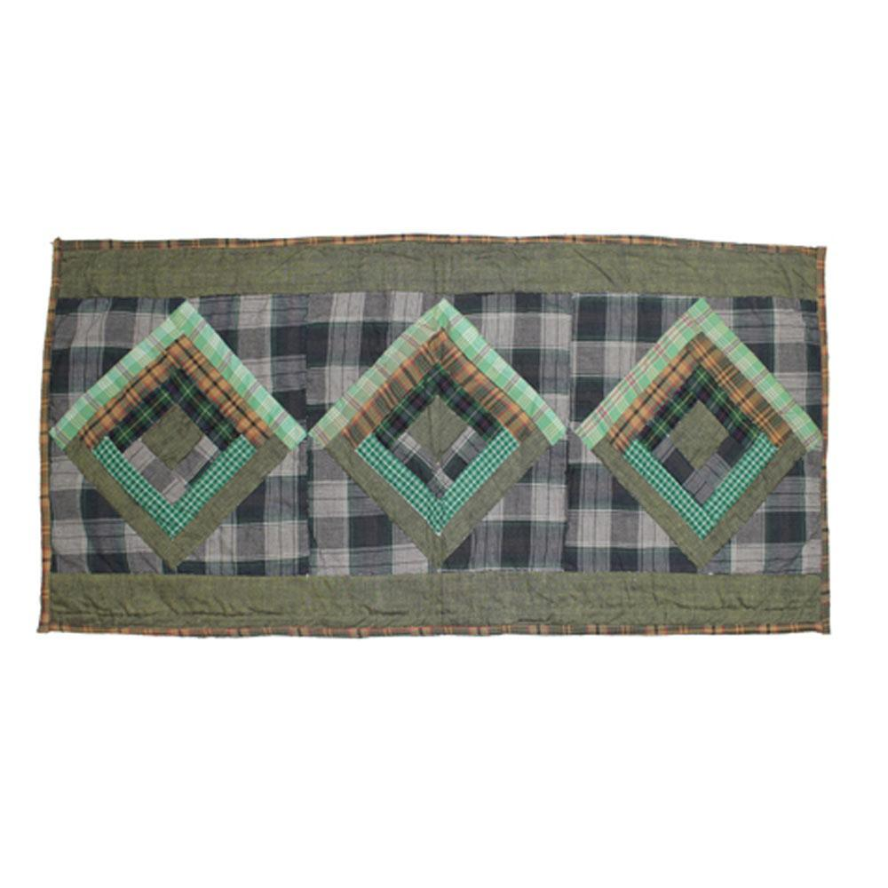 "Green Log Cabin Table Runner Extra Short 36""W x 16""L"