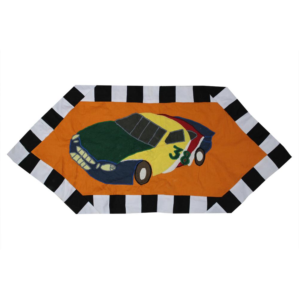 "Racecar Table Runner Extra Short 36""W x 16""L"