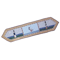 """Light House By The Bay Table Runner Long 72""""W x 16""""L"""