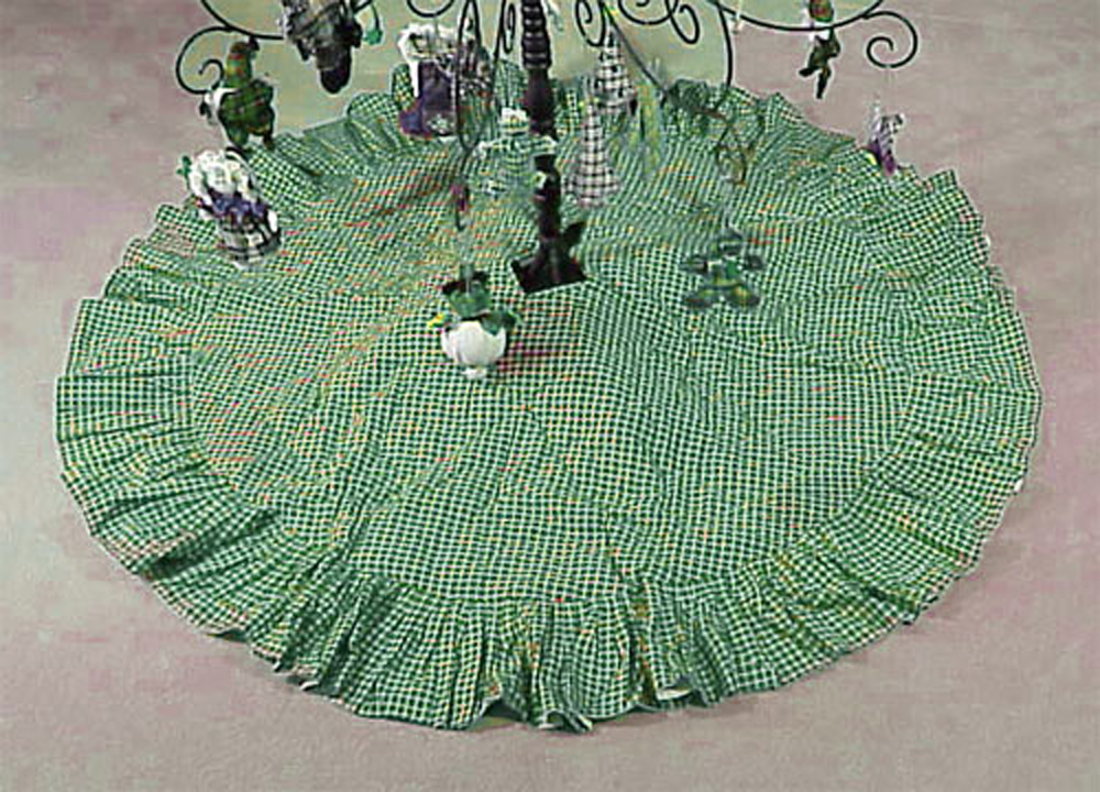 "Green Checks with White Treeskirt Large-54"" Dia"