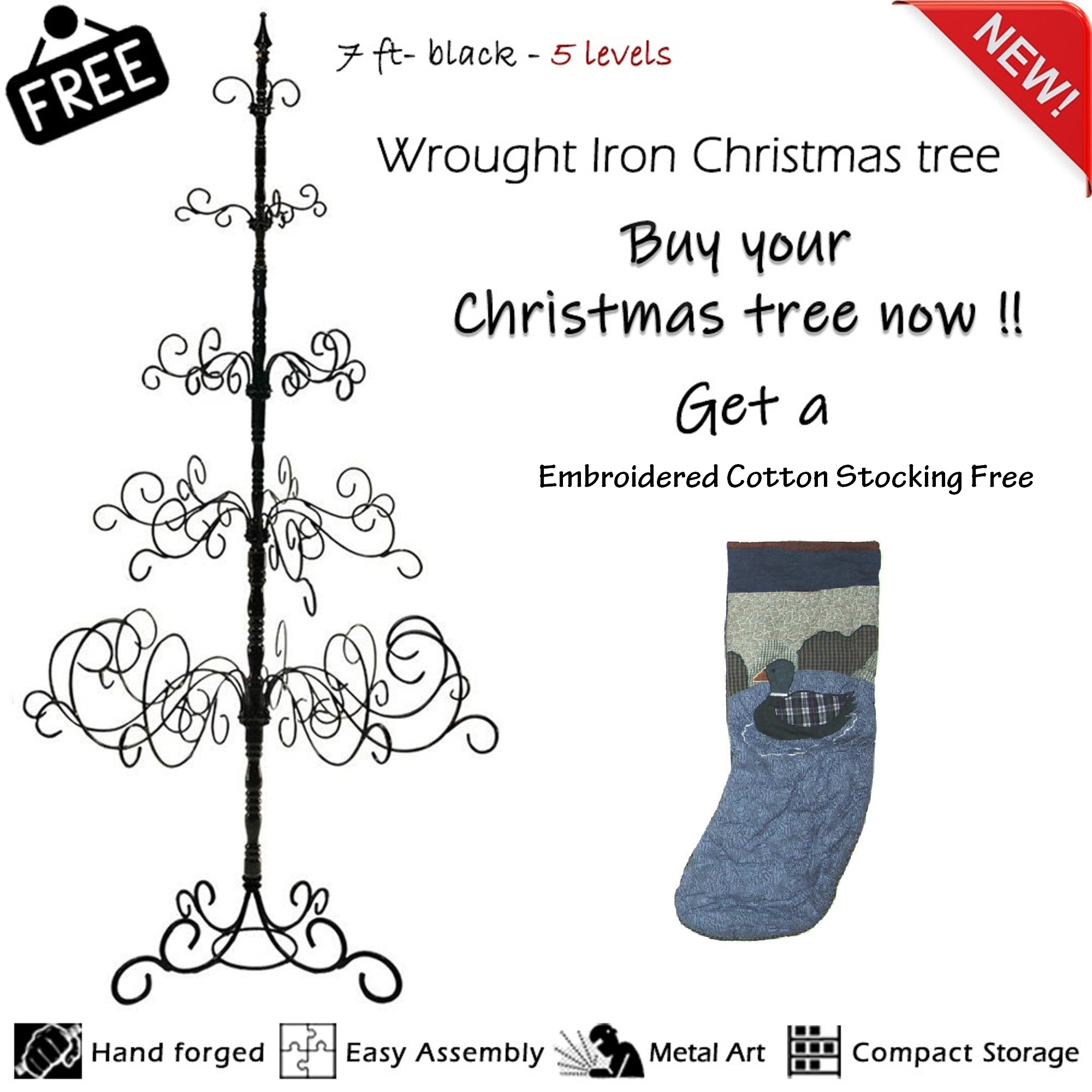 7 Foot Wrought Iron  Christmas Tree - Black Color, Easy Assembly, Multi-Purpose