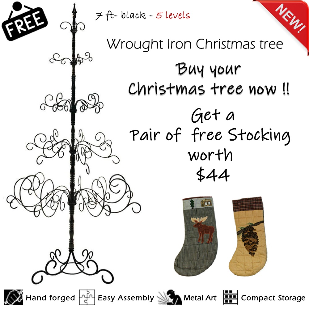 7 ft Black Wrought Iron Christmas Tree- 5 levels, 41 x 41 x 84-inch. Easy Assembly, Multipurpose